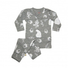 Merino Pyjamas - 'Foraging Friends' - Light Grey