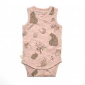 Merino Singlet Bodysuit - 'Foraging Friends' - Misty Rose