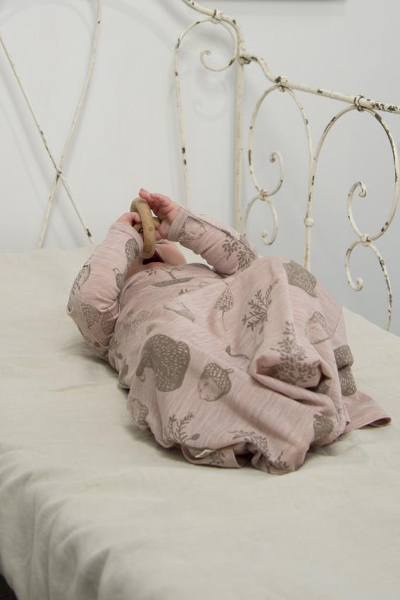 Merino Gown - 'Foraging Friends' - Misty Rose