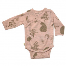 Merino 'Kimono' Bodysuit - 'Foraging Friends' - Misty Rose