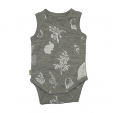 Merino Singlet Bodysuit - 'Foraging Friends' - Light Grey
