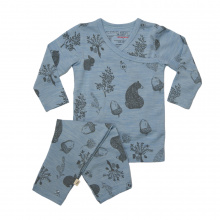 Merino Pyjamas - 'Foraging Friends' - Sky Blue