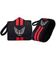 NZ Muscle Wrist Wraps, Black/Red - Elastic/Velcro