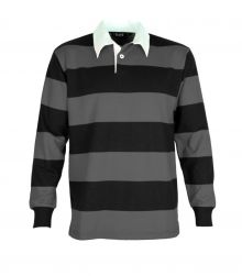 Striped Long Sleeve Rugby Jersey Charcoal/Black