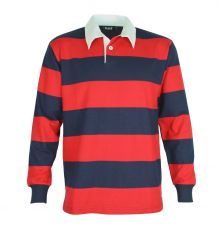 Striped Long Sleeve Rugby Jersey Navy/Red