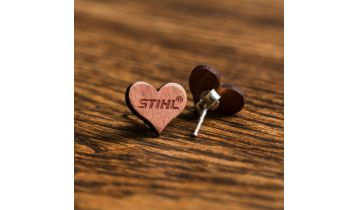 STIHL Wooden Heart Earrings