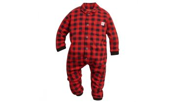 STIHL red and black checkered babies lumberjack romper suit