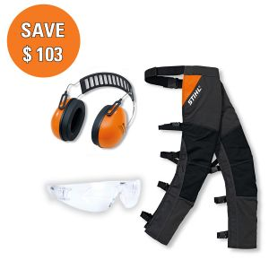 STIHL Chainsaw Safety Pack with Chaps, Earmuffs and Safety Glasses