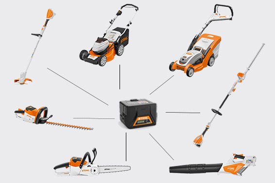 STIHL battery system compatible multiple battery tools