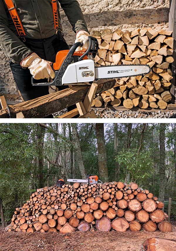 STIHL Cut Firewood with saw