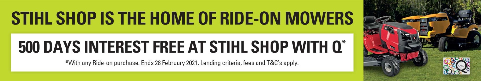 500 Days Interest Free on Ride-on Mowers with STIHL SHOP