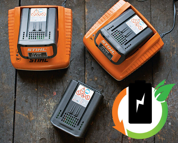 Different STIHL batteries eligible to STIHL battery recycle programme