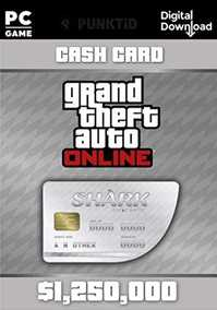 Grand Theft Auto V (GTA 5/GTA V) Online Great White Shark Cash Card - 1,250,000$  with Expansion Pack Only (PC)