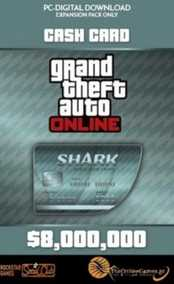 Grand Theft Auto V (GTA 5/GTA V) Online Megalodon Shark Cash Card - 8,000,000$  with Expansion Pack Only (PC)