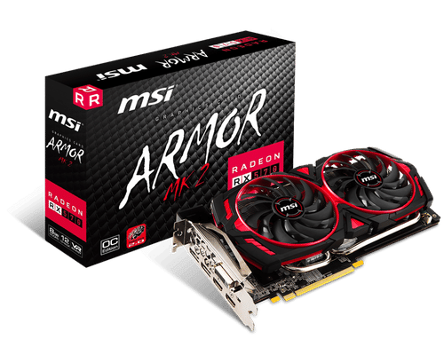 MSI Radeon RX 570 8 GB GDDR5 PCI Express 3.0 Armor MK2 OC Edition Graphic Card