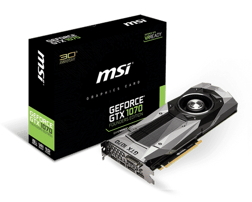 MSI GeForce GTX 1070 8 GB GDDR5 PCI Express 3.0 Founders Edition Graphic Card