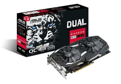 ASUS Dual Radeon RX 580 4 GB GDDR5 PCI Express 3.0 Graphic Card
