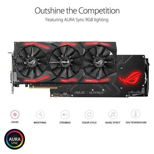 ASUS ROG Strix Radeon RX Vega 64 8 GB HBM2 PCI Express 3.0 OC Edition with Aura Sync Gaming Graphic Card