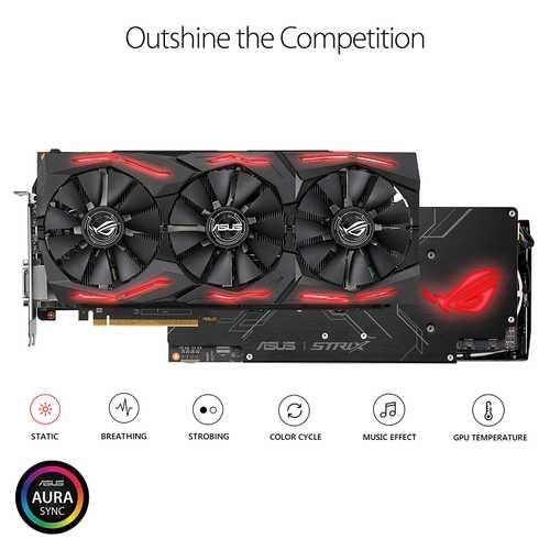 ASUS ROG Strix Radeon RX Vega 56 8 GB HBM2 PCI Express 3.0 OC Edition with Aura Sync RGB Graphic Card