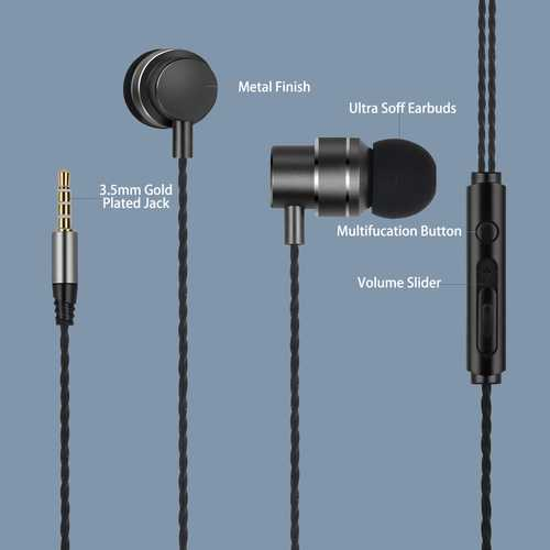 Lenovo HF118 Wired with Mic Tangle Free Cable Earphones (in-Ear)