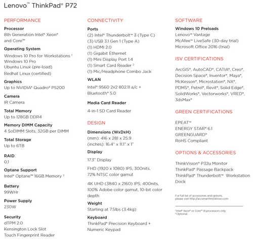 Lenovo ThinkPad P72 20MCS0G600 (17.3 inch (43 cm), Intel Xeon E-2176M, 32 GB DDR4 RAM, 1 TB HDD + 512 GB SSD, 8 GB Graphics, Windows 10 Pro) Laptop