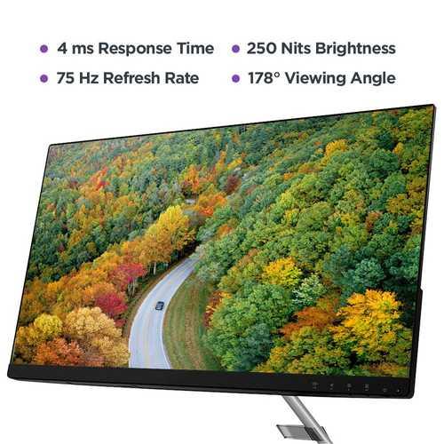 Lenovo Q24i-10 (65F3KAC3IN) 23.8 inch (60 cm) Full HD IPS Panel Ultra Slim Near Edgeless LED Backlight LCD Monitor
