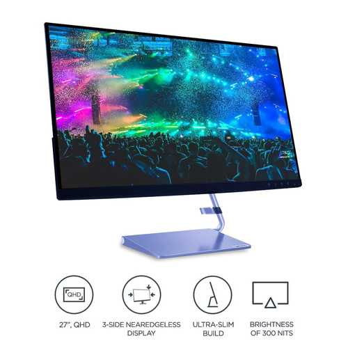 Lenovo Q27q-10 (65F4GAC3IN) 27 inch (69 cm) QHD IPS Panel LED Backlight LCD Monitor