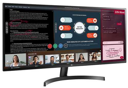 LG 34WK500-P 34 inch (86 cm) Full HD IPS Panel UltraWide Gaming Monitor