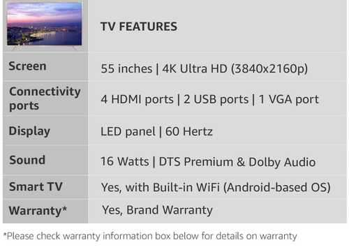 TCL L55P2MUS 55 inch (139 cm) Ultra HD 4K HDR Pro Android Smart Gaming LED TV