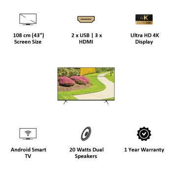 Lloyd 43US900B 43 inch (109 cm) Ultra HD 4K LED HDR Smart TV