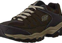 Skechers Men's AFTER BURN M.FIT Memory Foam Lace-Up Sneaker, Brown/Taupe, 11.5 M US