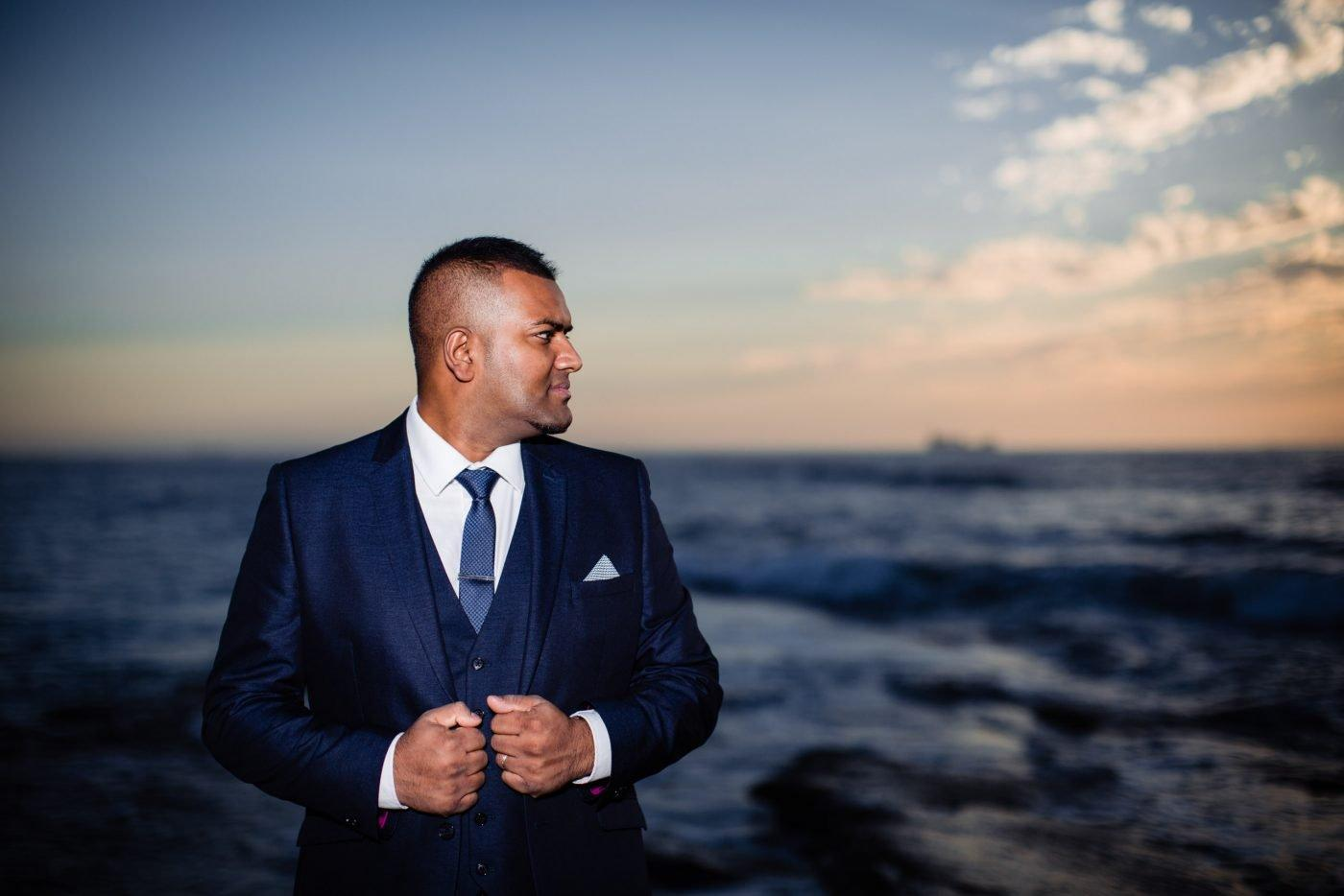 Groom portrait on Agadir's beach