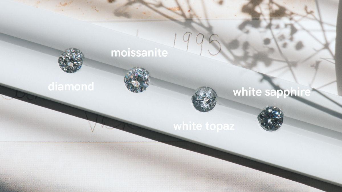 Diamond Moissanite white Sapphire white topaz stone comparison