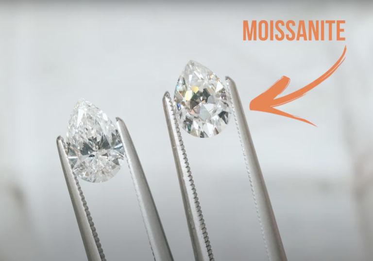 pear moissanite and diamond