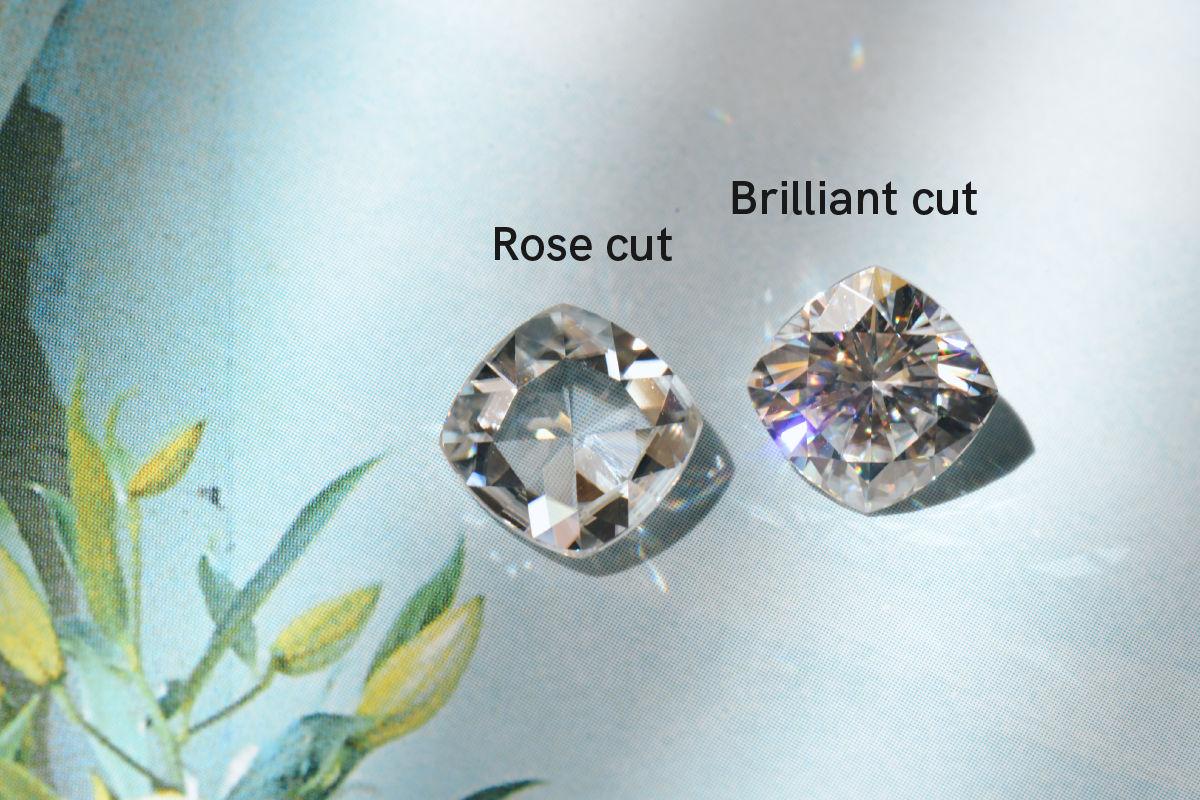 rose cut and brilliant cut cushion moissanite