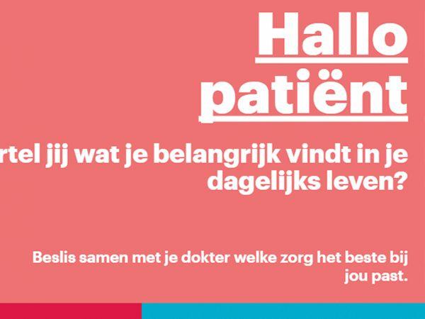 Hallo patiënt vertel jij wat je belangrijk vindt in je dagelijks leven?