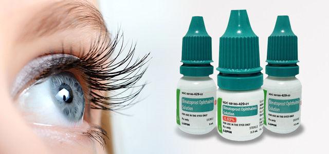 close up of woman's eye and bimatoprost eye drops