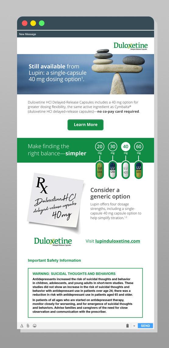 duloxetine mobile web design