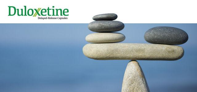 duloxetine pharmaceutical advertising banner with balancing rocks