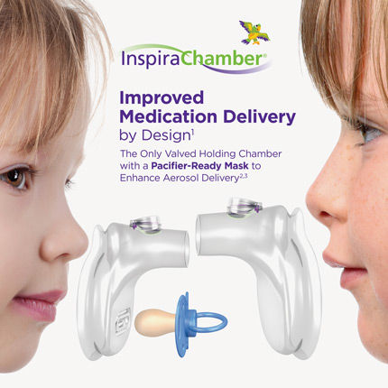 inspirachamber valved holding chamber with pacifier-ready mask