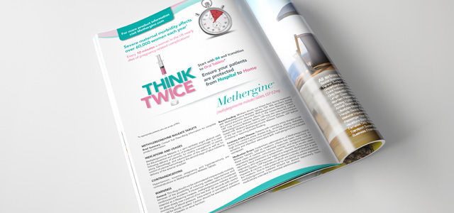 print advertisement in magazine for methergine pharmaceutical product