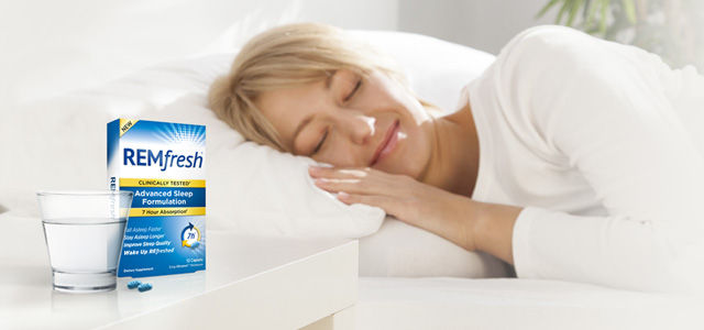 remfresh advertisement with woman sleeping soundly in bed