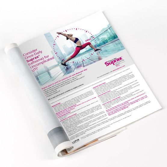 suprax pharmaceutical full page magazine advertisement