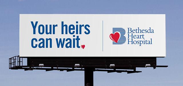 billboard advertisement for bethesda heart hospital