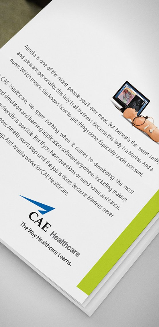 full page magazine advertisement for cae healthcare