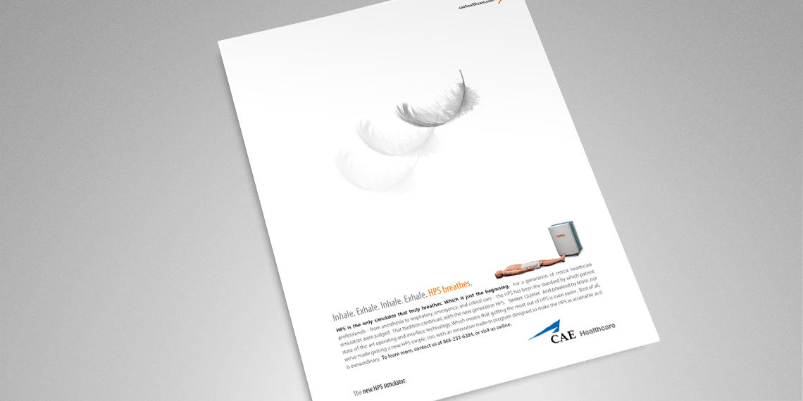 print advertisement for cae healthcare