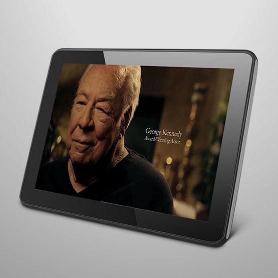 interim healthcare promotional video displayed on tablet