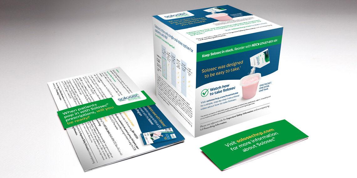 solosec pop up box branded pharmaceutical advertising asset