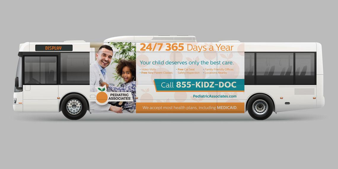 creative pediatric associates bus banner