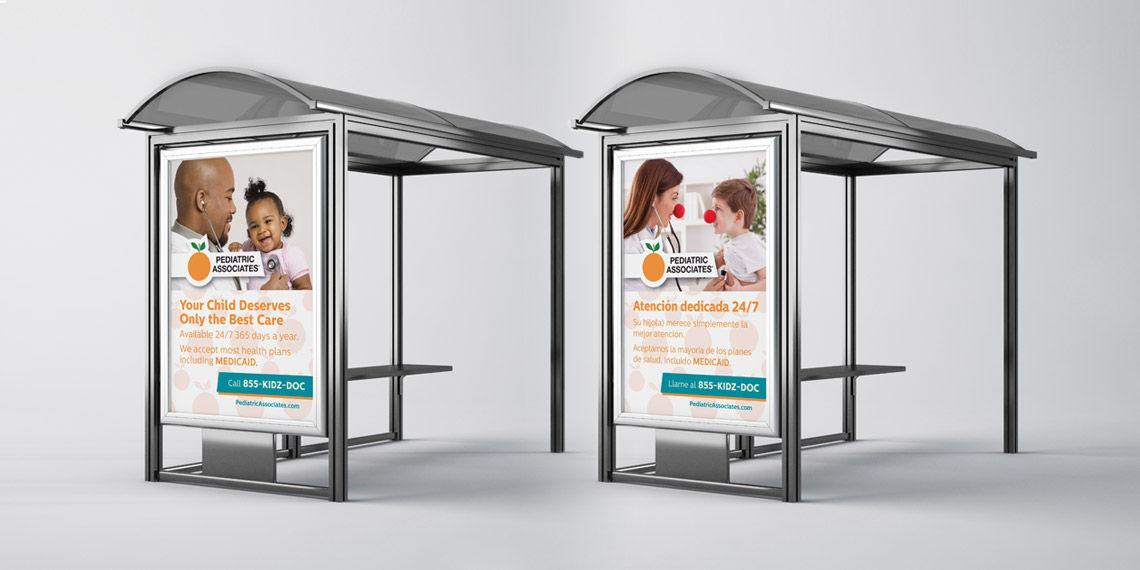 creative bus stop bench design for pediatric associates
